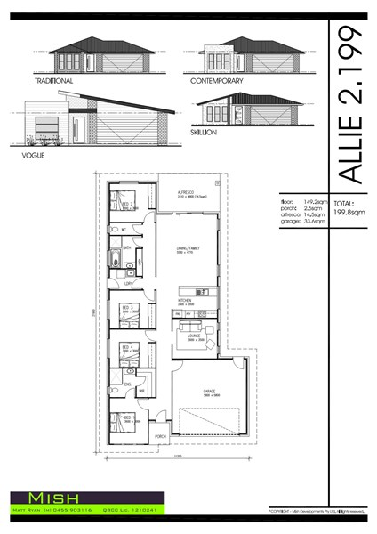 Floorplan for Lot 197 Six Mile Creek estate Collingwood Park