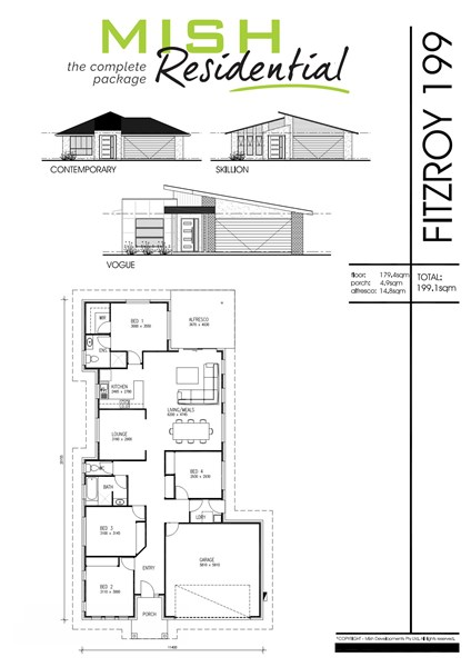 Floorplan for Lot 207 Six Mile Creek Estate Collingwood Park